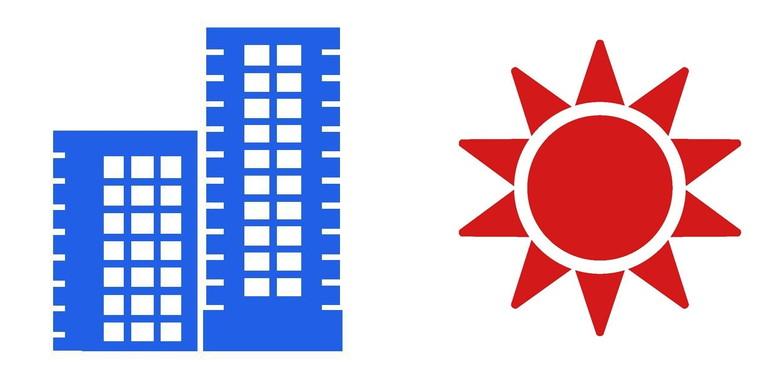 夏の太陽とマンション