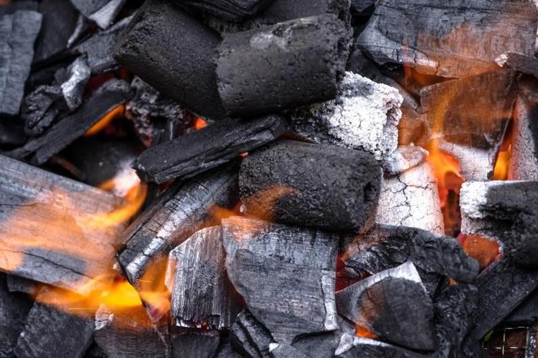 木炭使って炭火